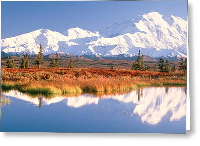 Denali National Park Greeting Cards - Pond, Alaska Range, Denali National Greeting Card by Panoramic Images