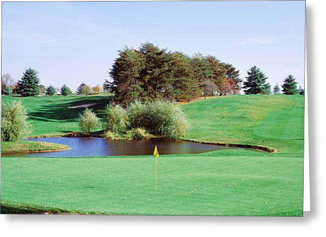 Maryland Flag Greeting Cards - Pond At A Golf Course, Baltimore Greeting Card by Panoramic Images