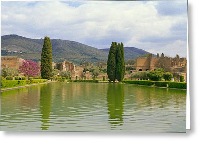 Civilization Greeting Cards - Pond At A Villa, Hadrians Villa Greeting Card by Panoramic Images