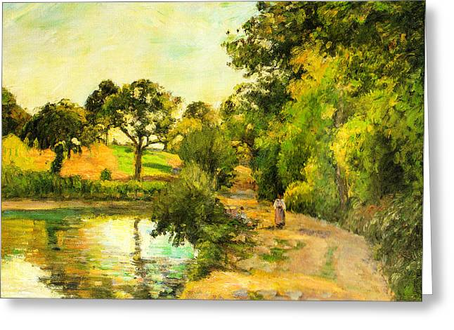 1874 Digital Greeting Cards - Pond at Montfoucault Greeting Card by Camille Pissarro
