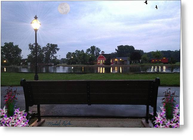 Reflections Of Sky In Water Digital Greeting Cards - Pond Bench Greeting Card by Michael Rucker