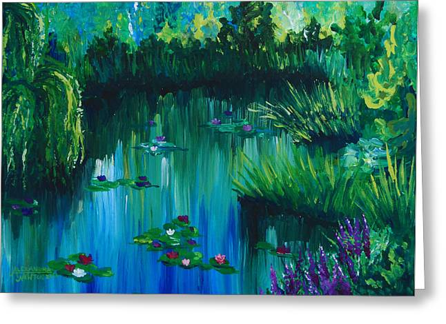 Willow Lake Greeting Cards - Pond by the Willow Greeting Card by Alexandra Nicole Newton