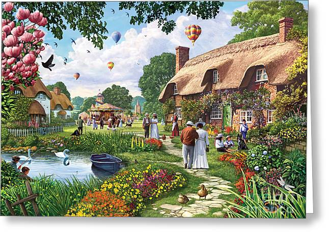 Couple Greeting Cards - Pond Cottage Greeting Card by Steve Crisp