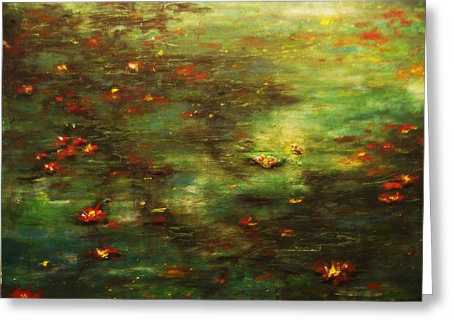 Waterlife Greeting Cards - Pond Dreams Greeting Card by David Iddon