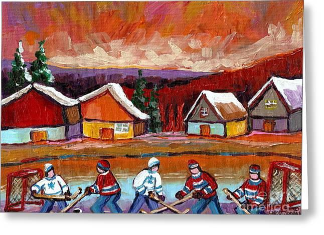 Country Hockey Greeting Cards - Pond Hockey Game 2 Greeting Card by Carole Spandau
