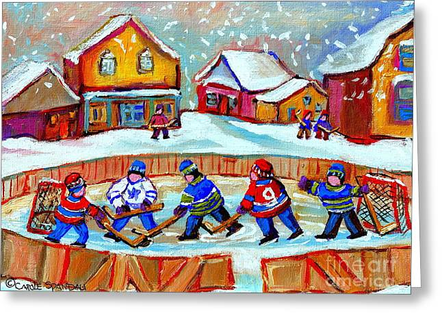 Country Hockey Greeting Cards - Pond Hockey Game Greeting Card by Carole Spandau
