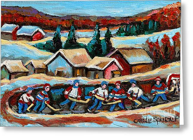 Pond Hockey Game In The Country Greeting Card by Carole Spandau