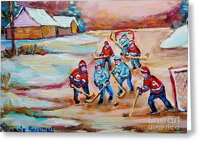 Country Hockey Greeting Cards - Pond Hockey In The Country On Frozen Pond Canadain Winter Landscapes Carole Spandau Greeting Card by Carole Spandau