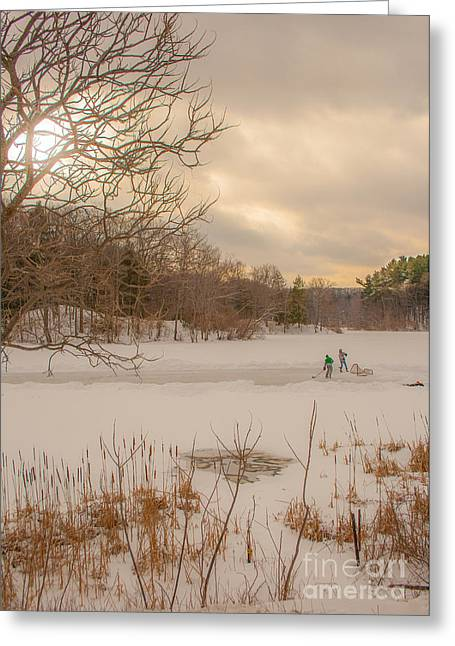 Family Time Greeting Cards - Pond Hockey at Durand Greeting Card by Ken Marsh