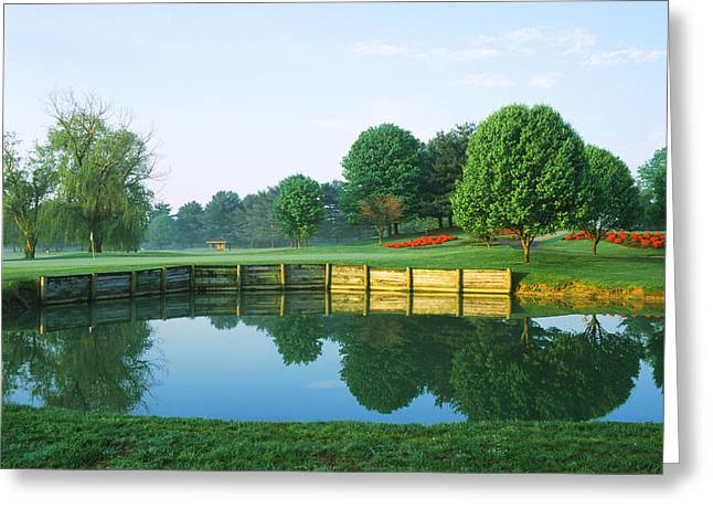 Urban Images Greeting Cards - Pond In A Golf Course, Westwood Country Greeting Card by Panoramic Images