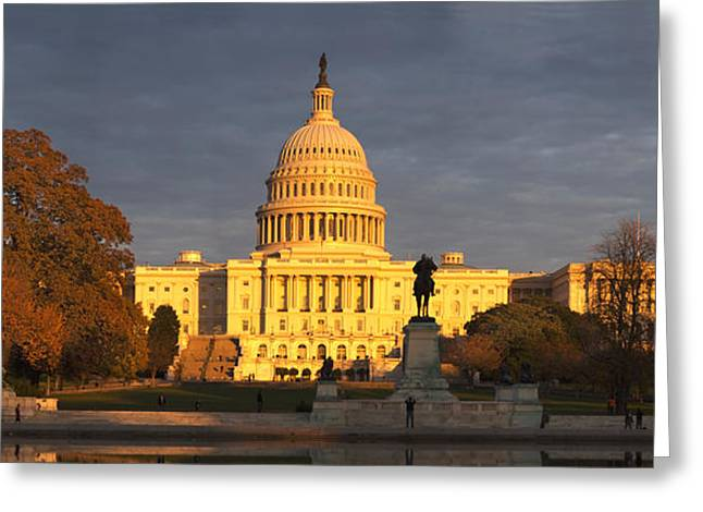 Capitol Hill Greeting Cards - Pond In Front Of A Government Building Greeting Card by Panoramic Images