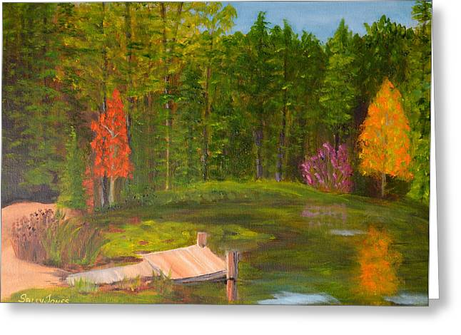Trees Reflecting In Water Paintings Greeting Cards - Pond in the Blue Ridge Greeting Card by Sally Jones