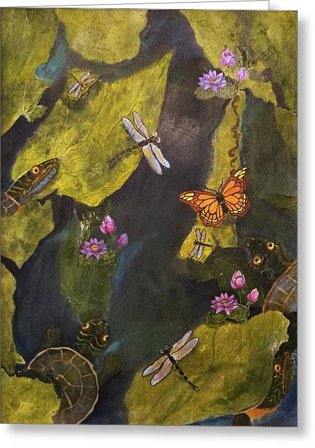 Jacksonville Mixed Media Greeting Cards - Pond Life Greeting Card by Linda F Hawkins