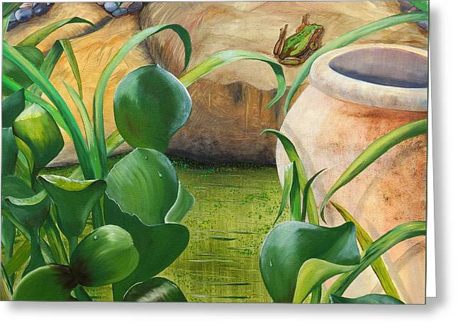Water Lilly Greeting Cards - Pond Life Greeting Card by Merrin Jeff