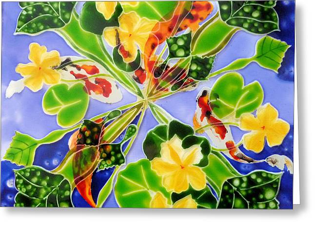 Lilly Pads Glass Greeting Cards - Pond Life Greeting Card by Sharon Cox