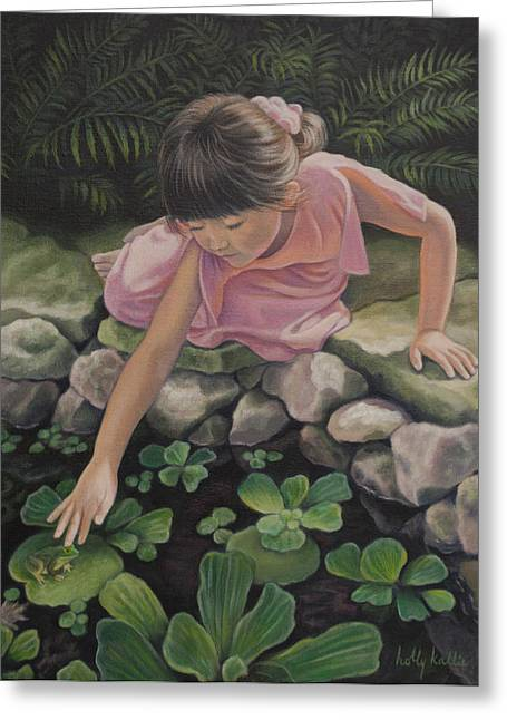 Girls In Pink Greeting Cards - Pond Magic Greeting Card by Holly Kallie