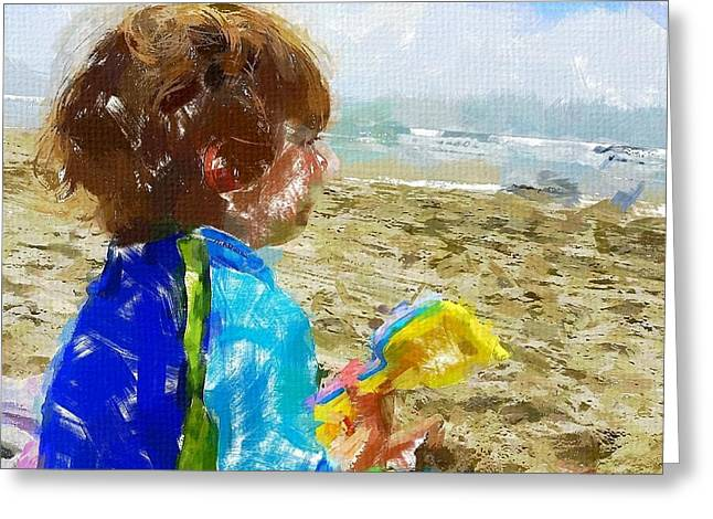 Pondering Paintings Greeting Cards - Ponder Greeting Card by Chris Butler