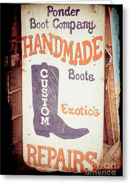 Western Boots Greeting Cards - Ponder Handmade Boots Greeting Card by Sonja Quintero