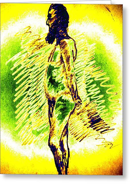 Psycho Drawings Greeting Cards - Pondering Man Greeting Card by Genio GgXpress