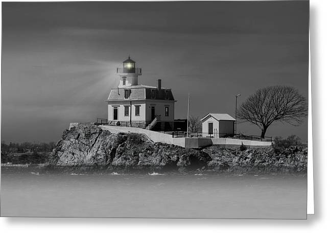 Foggy Ocean Greeting Cards - Ponham Rock Light Greeting Card by Robin-lee Vieira