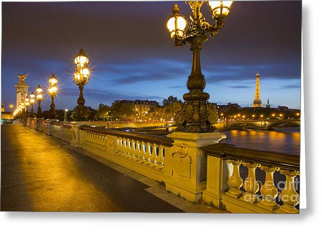 Balusters Greeting Cards - Pont Alexandre III Twilight Greeting Card by Brian Jannsen