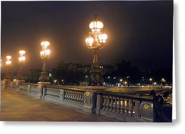Invalides Greeting Cards - Pont Alexandre Iii With The Eiffel Greeting Card by Panoramic Images