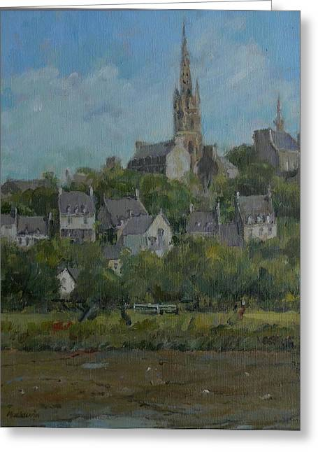 Breton Greeting Cards - Pont Croix, Brittany, 2007 Oil On Canvas Greeting Card by Pat Maclaurin