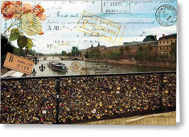 Commercial Photography Paintings Greeting Cards - Pont Des Arts Greeting Card by Sandy Lloyd