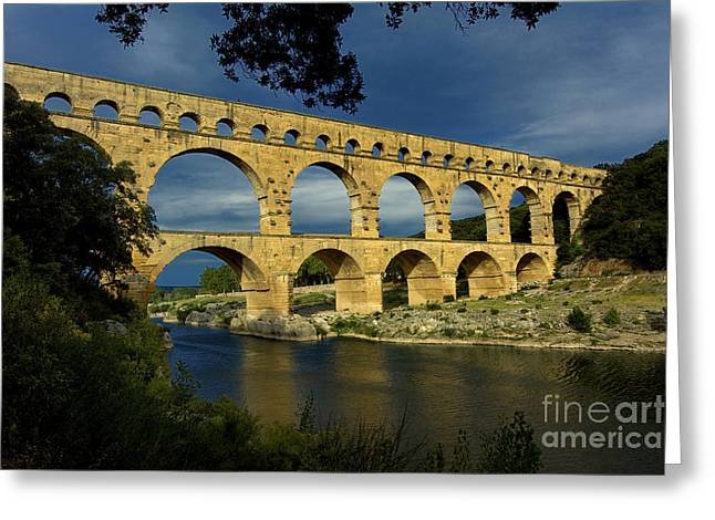 South Of France Greeting Cards - Pont du Gard. France Greeting Card by Bernard Jaubert