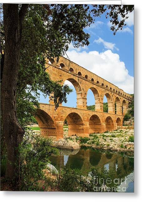 Archeology Greeting Cards - Pont du Gard Greeting Card by Inge Johnsson
