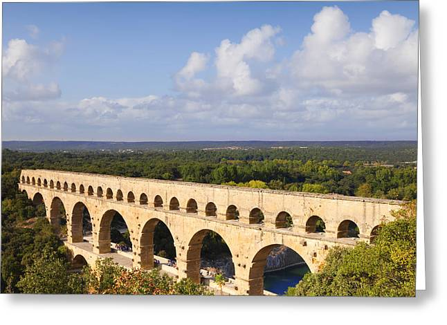 Pont du Gard Roman Aqueduct Languedoc Roussillon France Greeting Card by Colin and Linda McKie