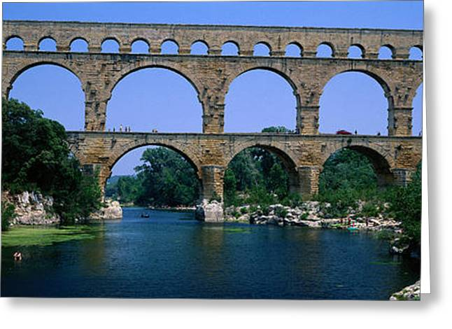 Repetition Greeting Cards - Pont Du Gard Roman Aqueduct Provence Greeting Card by Panoramic Images