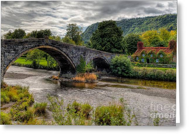 Stone Bridge Greeting Cards - Pont Fawr 1636 Greeting Card by Adrian Evans