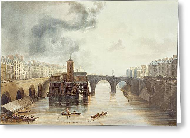 Bridge Drawings Greeting Cards - Pont Notre Dame, From Views Greeting Card by John Gendall