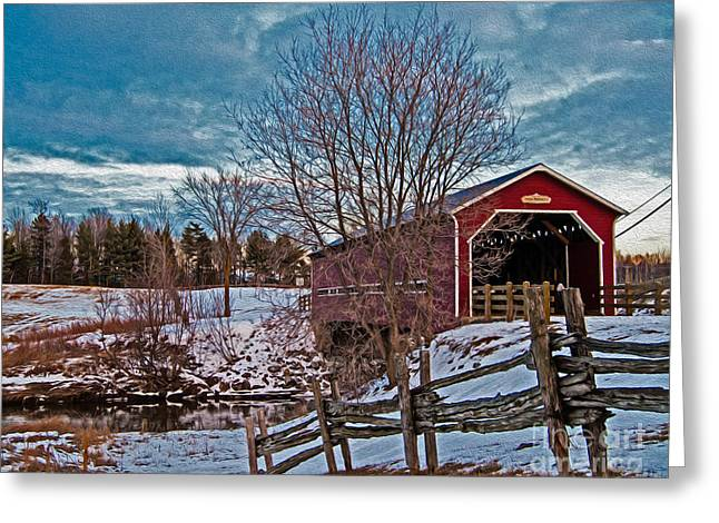Covered Bridge Greeting Cards - Pont Perrault Greeting Card by Bianca Nadeau