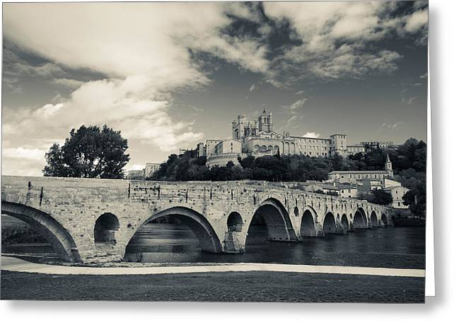 Languedoc Greeting Cards - Pont Vieux Bridge With Cathedrale Greeting Card by Panoramic Images