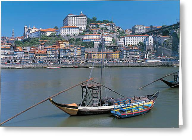 Old Boat Greeting Cards - Ponte De Dom Luis I & Douro River Porto Greeting Card by Panoramic Images