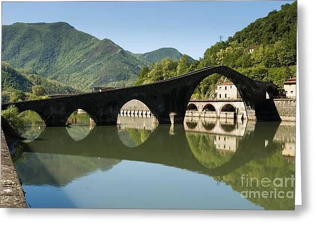 Charming Vistas Greeting Cards - Ponte della Maddalena  - Ponte del Diavolo -crosses Serchio rive Greeting Card by Peter Noyce
