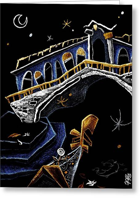 Luna Pastels Greeting Cards - PoNTe Di RiALTo - Grand Canal Venise Gondola Illustration Greeting Card by Arte Venezia