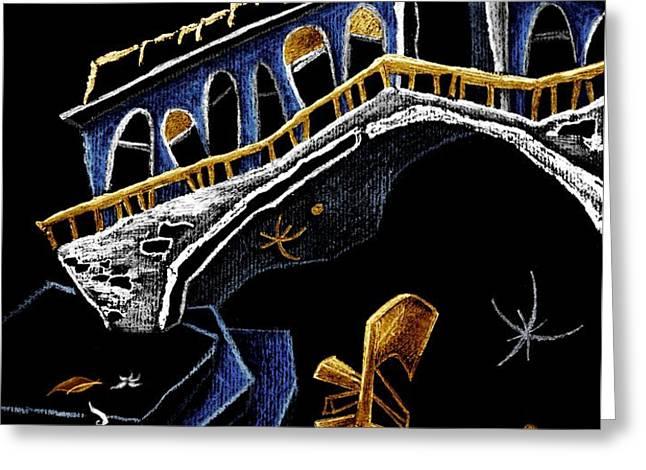 PoNTe Di RiALTo - Grand Canal Venise Gondola Illustration Greeting Card by Arte Venezia
