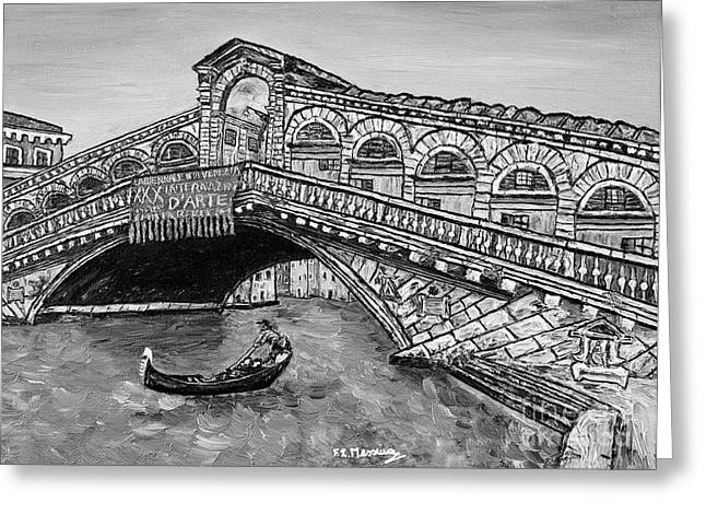 Gondolier Drawings Greeting Cards - Ponte di Rialto Greeting Card by Loredana Messina