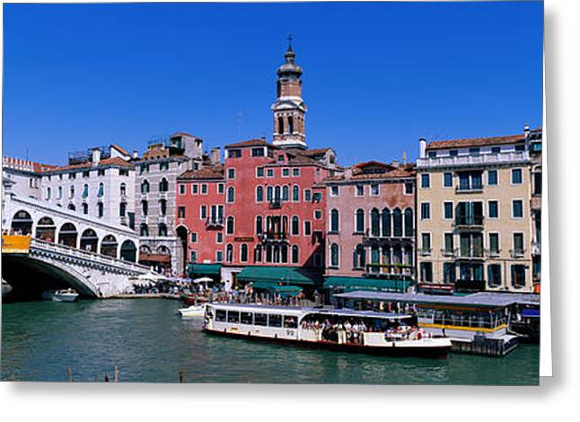 Marketplace Greeting Cards - Ponte Di Rialto Venice Italy Greeting Card by Panoramic Images