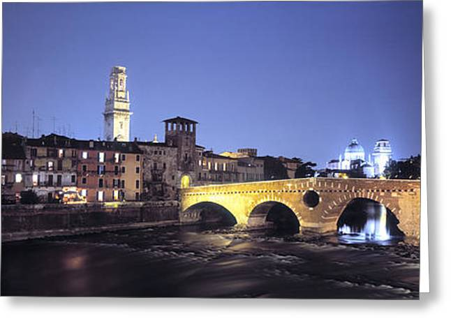Historic Home Greeting Cards - Ponte Pietra And Adige River, Verona Greeting Card by Panoramic Images