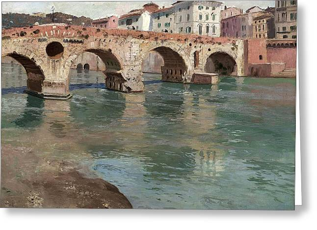 Thaulow Greeting Cards - Ponte Pietra. Verona Greeting Card by Frits Thaulow