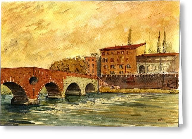 Italian Sunset Greeting Cards - Ponte Pietra Verona Italy Greeting Card by Juan  Bosco