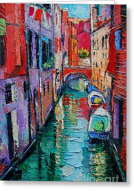 Light Grey Greeting Cards - Ponte Raspi O Sansoni - Venice - Italy Greeting Card by Mona Edulesco