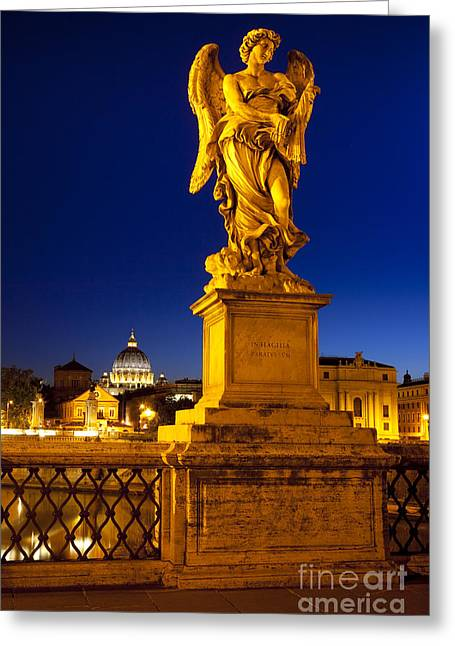 Night Angel Greeting Cards - Ponte Sant Angelo Greeting Card by Brian Jannsen