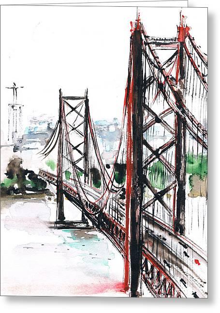 Prague Paintings Greeting Cards - Ponte Greeting Card by Turdean Mircea