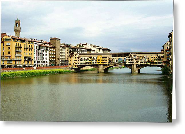 Florentine Greeting Cards - Ponte Vecchio 1 Greeting Card by Ellen Henneke