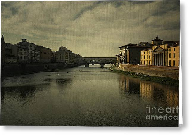 Tuscan Sunset Greeting Cards - Ponte Vecchio 2 Greeting Card by Belinda Greb